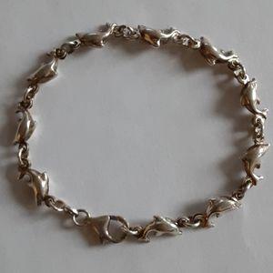 """Vintage Sterling Silver 925 Dolphin Bracelet 7.25"""""""